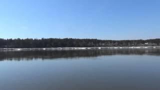 Паром через реку Енисей. Красноярский край, Енисейский район, п. Стрелка.