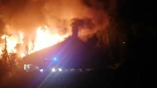 Пожар в Северо-Енисейске ул. 40 лет Победы 1б 6 августа 2020 г.