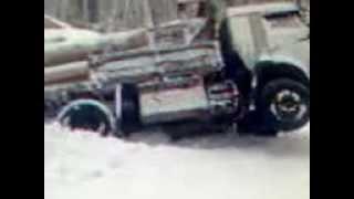 камаз с лесом слетел в кювет.лесовоз сортиментовоз. timber truck crash